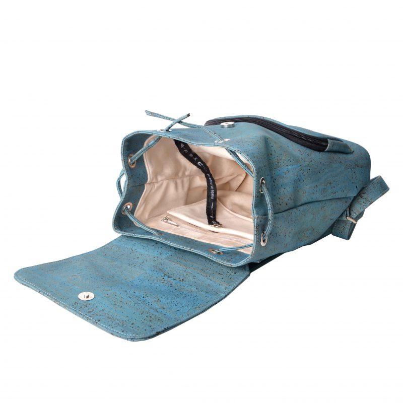 Plecak z naturalnego korka petrol