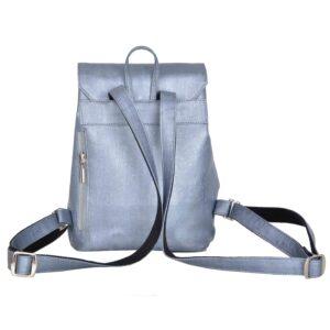 Damski plecak miejski ze skóry korkowej w kolorze stalowym od tyłu