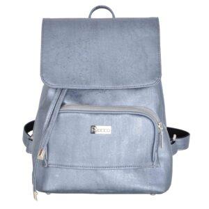 Damski plecak miejski ze skóry korkowej w kolorze stalowym od przodu